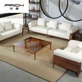 朴睿(prich)14北欧现代简约黑胡桃木家具组合真皮沙发全实木沙发四人牛皮沙发